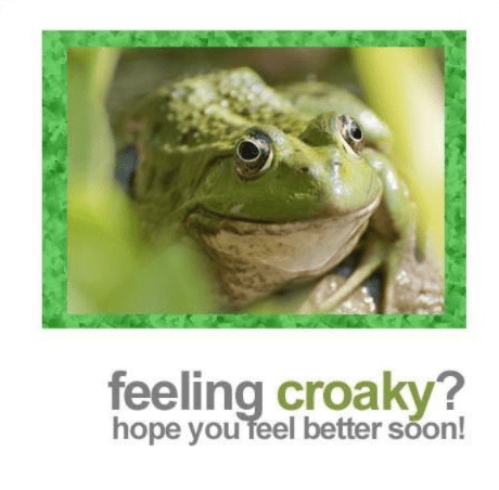 FotoFitz - Feeling Croaky - Frog Get Well Greeting Card